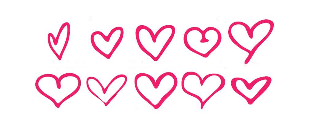 Group of red heart outlines